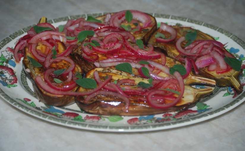 Baby Eggplant with Oregano and Red Onion
