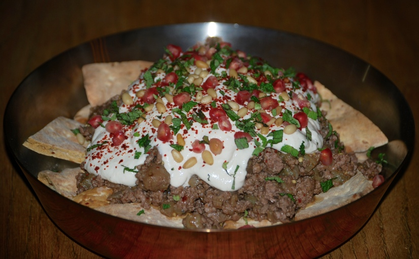 Beef and Aubergine Fatteh