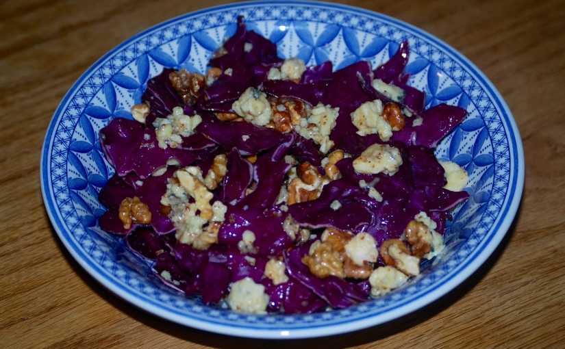 Radicchio, Chestnut and Blue Cheese Salad with a Citrus, Grain Mustard and Honey Dressing