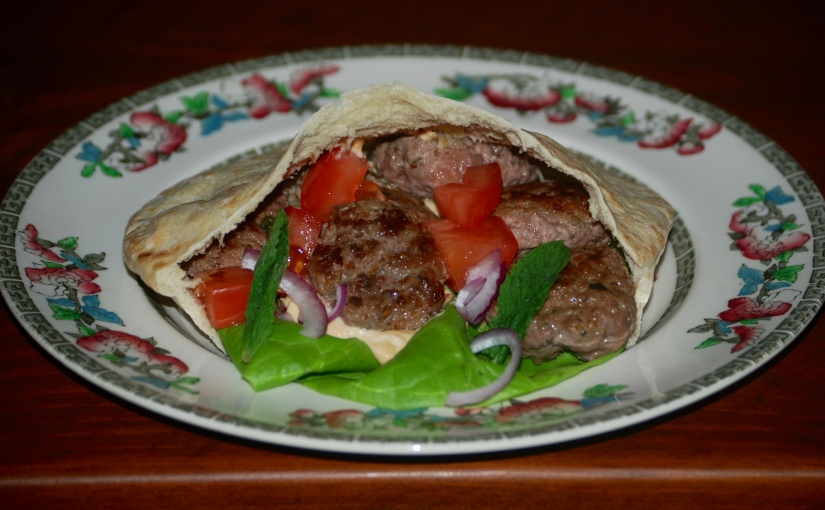 Lamb Patties with Hummus and Pita