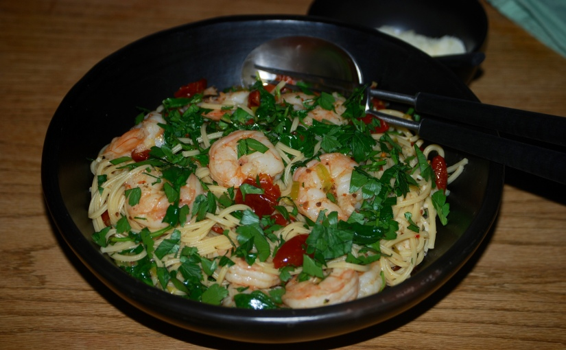 Spaghetti with Prawns and Chili
