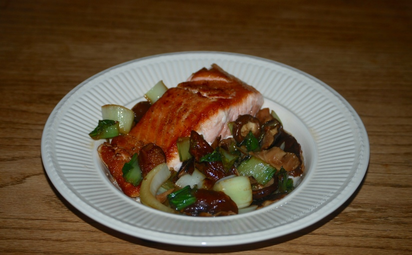 Salmon with Greens and Shitake Mushrooms