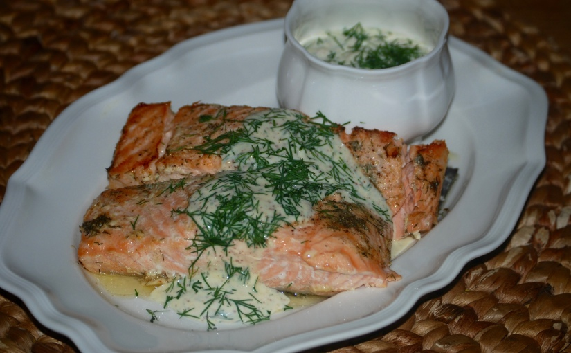 Salmon with Mustard and Dill Creme Fraiche