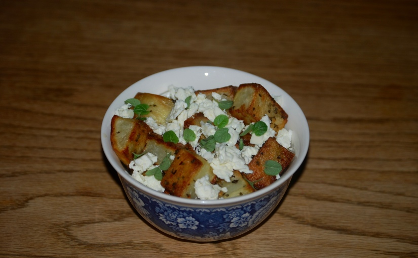 Garlicy Roast Potatoes with Oregano and Feta