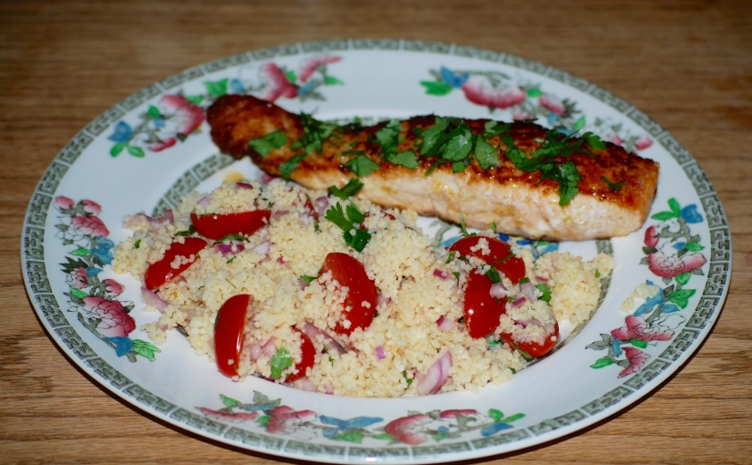 Lemony Salmon with Cherry Tomato Couscous
