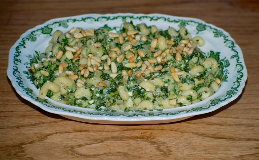 Curly Pasta with Feta, Spinach and Pine Nuts