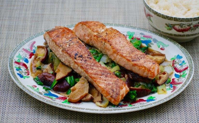 Salmon with Greens and ShitakeMushrooms