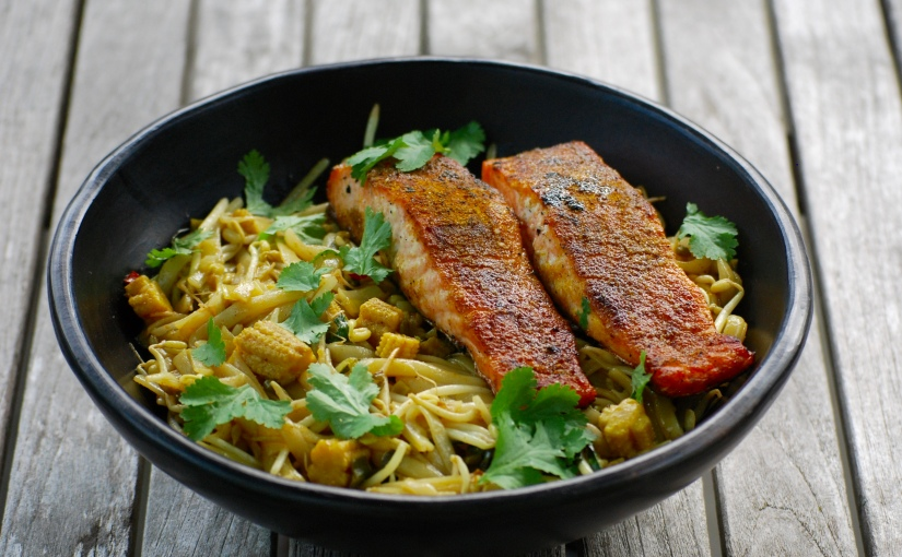 Seared Salmon with SingaporeNoodles
